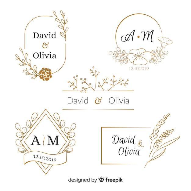 Kolekcja szablonów logo ślub monogram Darmowych Wektorów