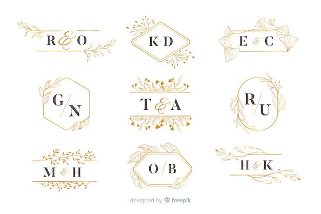 Kolekcja szablonów logo ślubne monogram Darmowych Wektorów