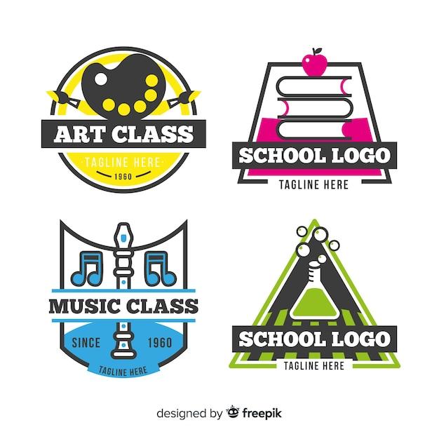 Kolekcja szablonów logo szkoły płaskie Darmowych Wektorów