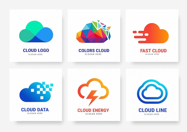 Kolekcja szablonów logo w chmurze Premium Wektorów