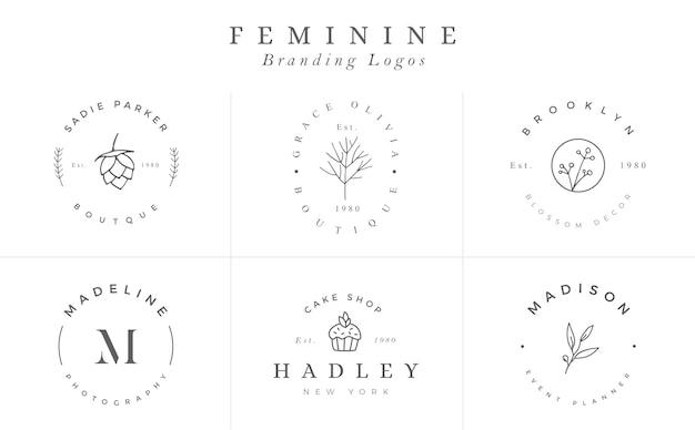 Kolekcja szablonów logo. zestaw logo. minimalistyczne logotypy. gotowe projektowanie logo - wektor Premium Wektorów