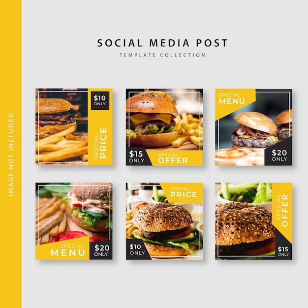 Kolekcja szablonów postów kulinarnych instagram Premium Wektorów