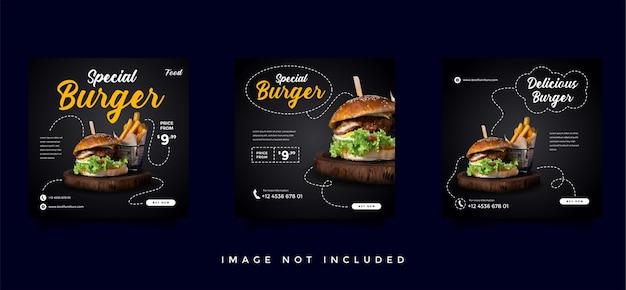Kolekcja Szablonów Promocji żywności I Kulinarnych Mediów Społecznościowych Premium Wektorów
