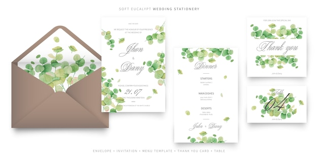 Kolekcja szablonów zaproszenia miękkie eukaliptusa wesele Darmowych Wektorów
