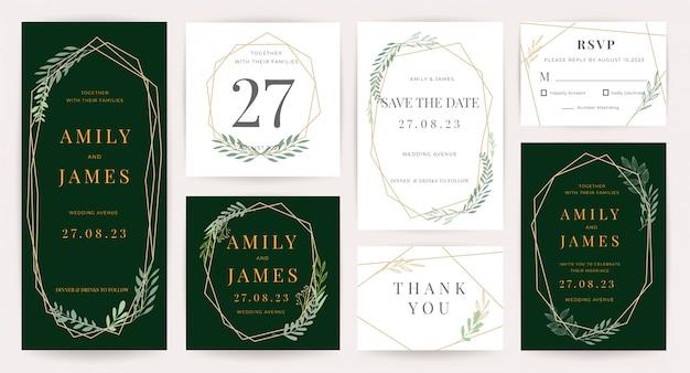 Kolekcja szablonów zaproszenia ślubne Premium Wektorów
