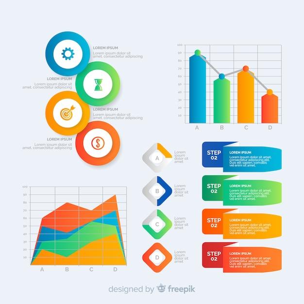 Kolekcja szablonu elementu gradientu infographic Darmowych Wektorów
