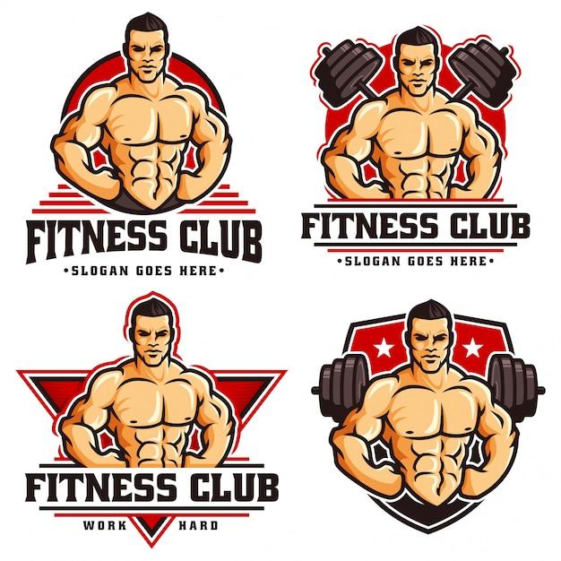 Kolekcja szablonu logo siłowni kulturysta fitness, z postacią muskularny mężczyzna Premium Wektorów