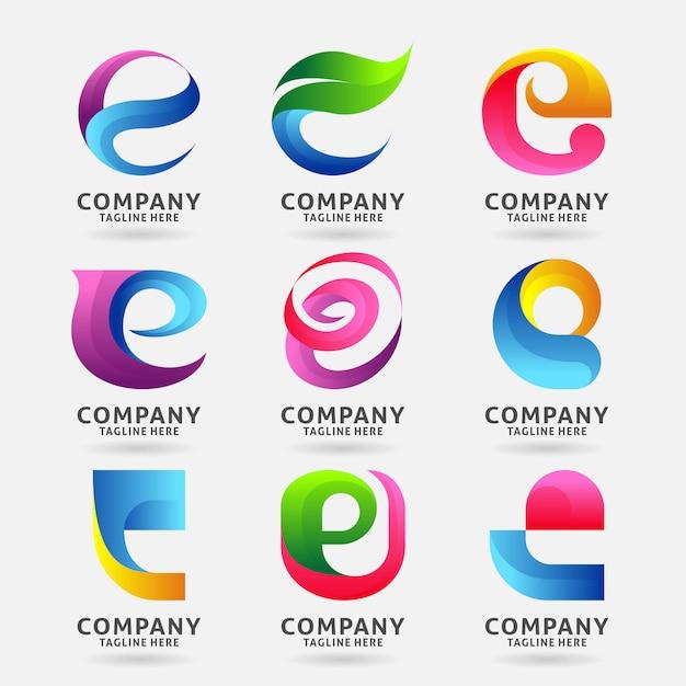 Kolekcja szablonu projektu logo nowoczesne litery e. Premium Wektorów