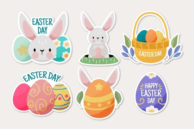 Kolekcja Szczęśliwy Wielkanocny Dzień Etykiety Wyciągnąć Rękę Darmowych Wektorów
