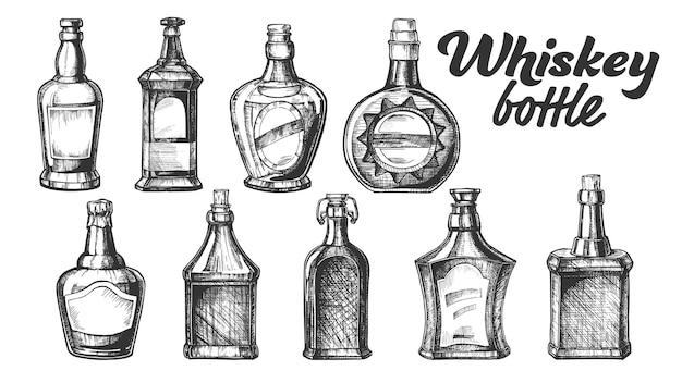 Kolekcja Szkockiej Butelki Whisky Zestaw. Premium Wektorów