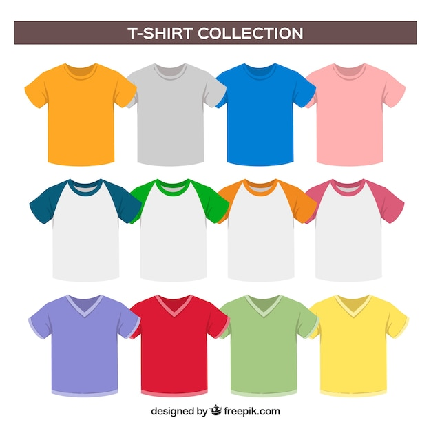 Kolekcja t-shirtów 2d w różnych kolorach Darmowych Wektorów