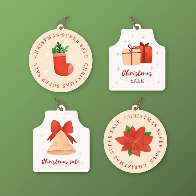 Kolekcja Tagów Akwarela Boże Narodzenie Sprzedaż Darmowych Wektorów