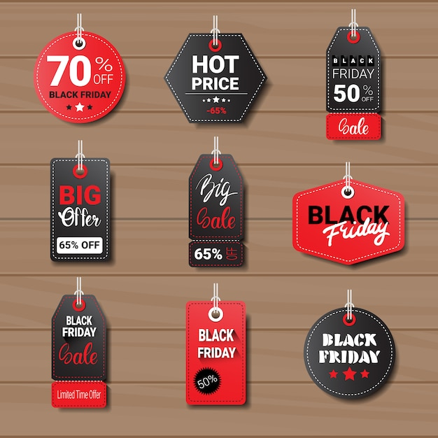 Kolekcja tagów lub etykiet w czarny piątek Premium Wektorów