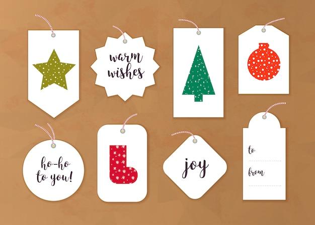 Kolekcja Tagów Prezent Na Boże Narodzenie, Różne Kształty Na Białym Tle Premium Wektorów