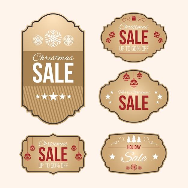 Kolekcja tagów rocznika świątecznej sprzedaży Darmowych Wektorów