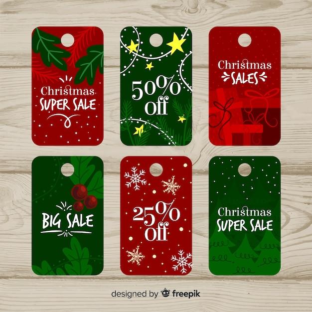 Kolekcja tagów świątecznej sprzedaży Darmowych Wektorów