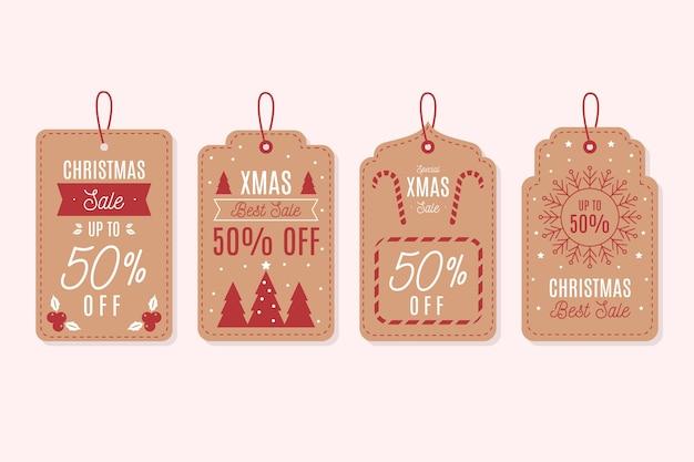 Kolekcja tagów vintage christmas sale Darmowych Wektorów