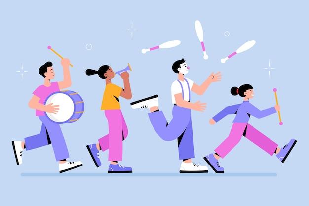 Kolekcja Tancerzy Karnawałowych Darmowych Wektorów