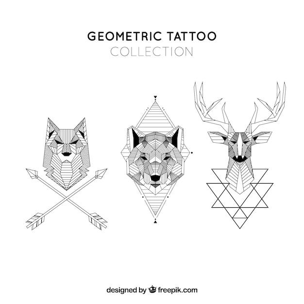 Kolekcja Tatuaż Kolekcji Geometrycznej Zwierząt Wektor