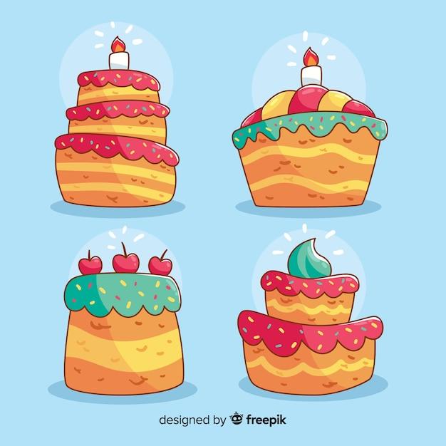 Kolekcja Tort Urodzinowy Kreskówka Darmowych Wektorów