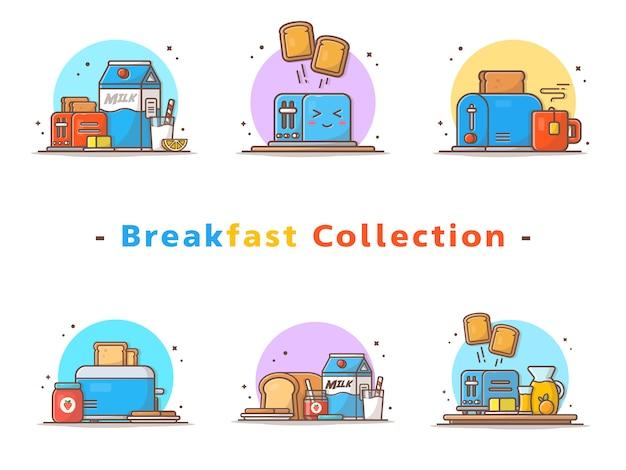 Kolekcja tostera śniadaniowego Premium Wektorów