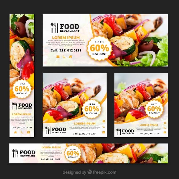 Kolekcja transparent restauracja zdrowa żywność ze zdjęciami Darmowych Wektorów