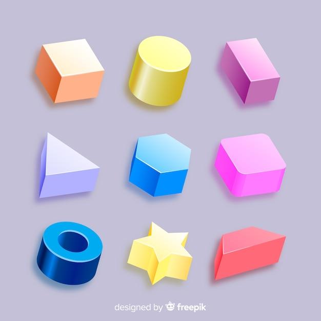 Kolekcja Trójwymiarowych Kształtów Geometrycznych Darmowych Wektorów
