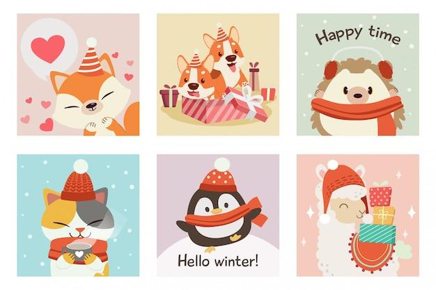 Kolekcja uroczego lisa, corgi, jeża, kota, pingwina, alpaki w zimowym i świątecznym zestawie motywów Premium Wektorów