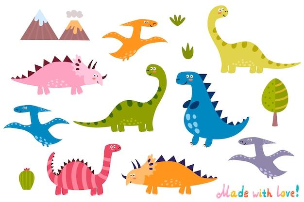 Kolekcja uroczych dinozaurów. zestaw elementów na białym tle Premium Wektorów
