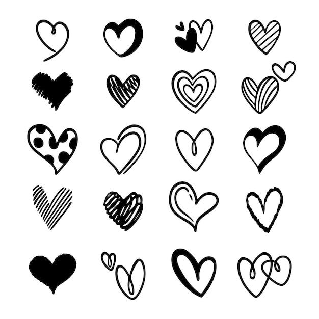 Kolekcja Uroczych Doodled Serc Darmowych Wektorów