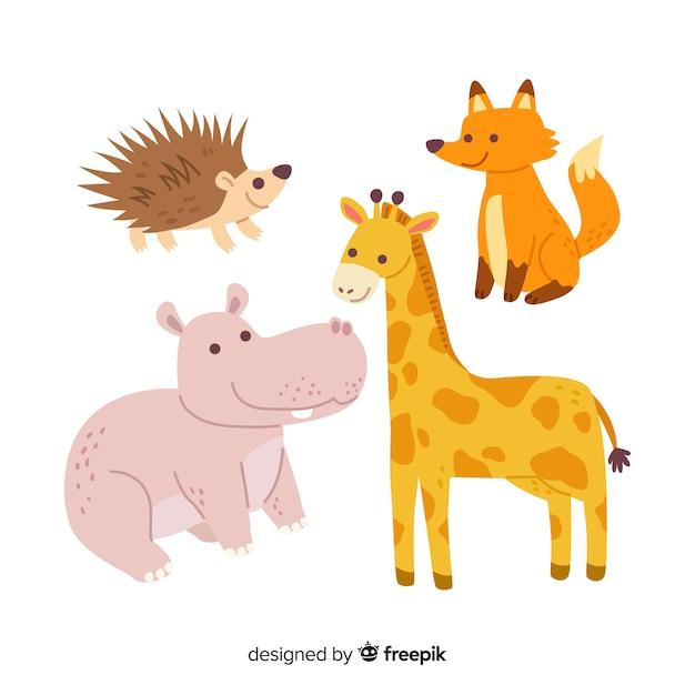 Kolekcja uroczych dzikich zwierząt Darmowych Wektorów