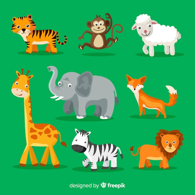 Kolekcja uroczych kreskówek zwierząt Darmowych Wektorów