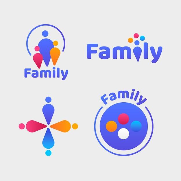Kolekcja Uroczych Logo Rodzinnych Darmowych Wektorów