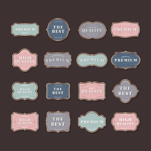 Kolekcja vintage etykieta Darmowych Wektorów