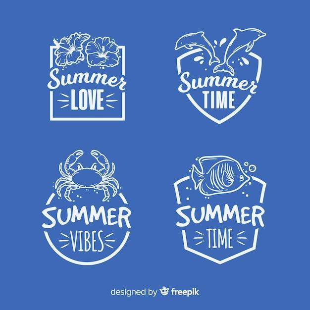 Kolekcja vintage etykiety lato płaskie Darmowych Wektorów