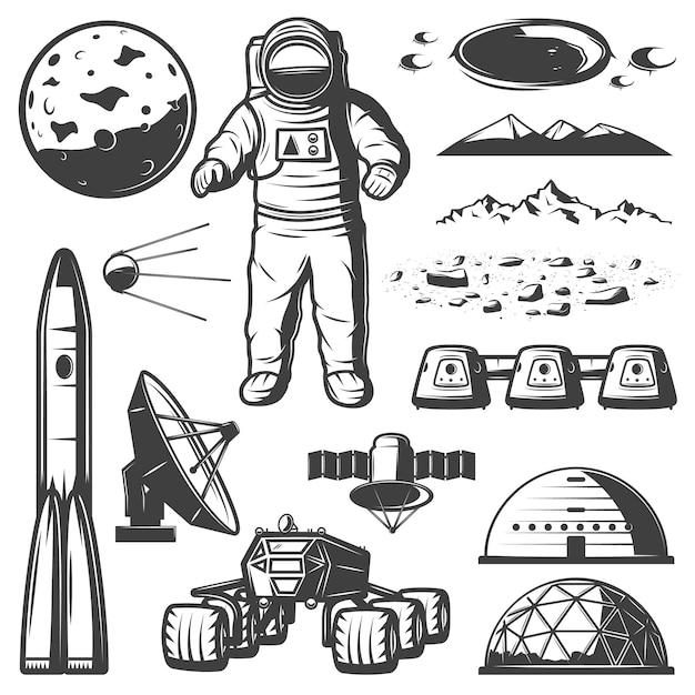 Kolekcja Vintage Mars Space Elements Darmowych Wektorów