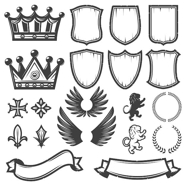 Kolekcja Vintage Monochromatyczne Elementy Heraldyczne Darmowych Wektorów
