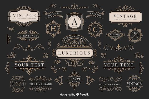 Kolekcja vintage ozdobnych logo Darmowych Wektorów