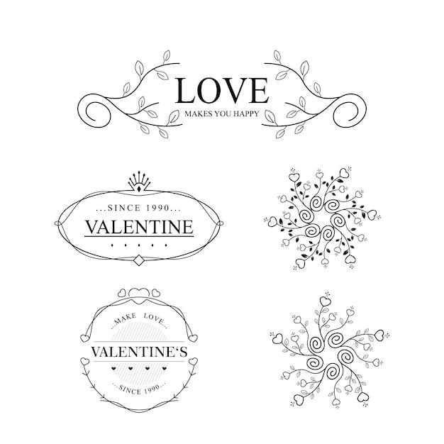 Kolekcja Vintage Walentynki Wzory Premium Wektorów