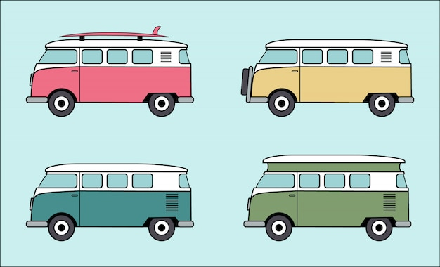 Kolekcja Vw Van Premium Wektorów