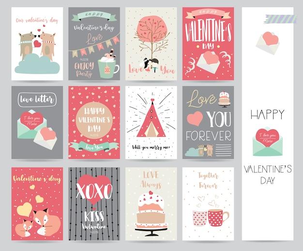 Kolekcja walentynkowa na banery, plakaty z ciastem, list, wstążka, niedźwiedź, serce i lis Premium Wektorów