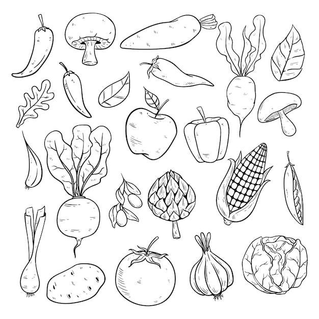 Kolekcja Warzyw W Stylu Szkicu Lub Ręcznie Rysowane Premium Wektorów