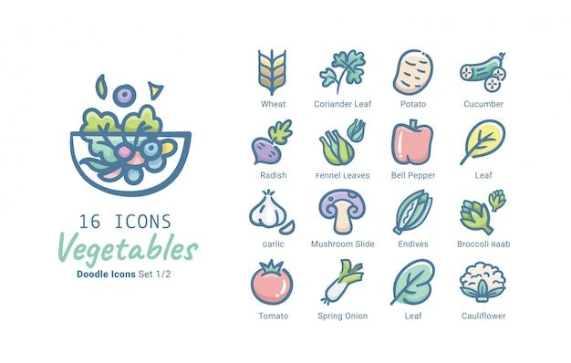 Kolekcja Warzyw Wektor Ikona Premium Wektorów