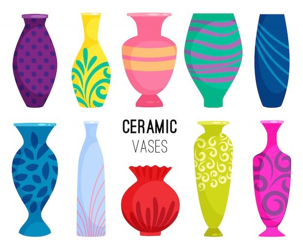 Kolekcja Wazonów Ceramicznych. Kolorowe Ceramiczne Przedmioty Wazonowe, Antyczne Ceramiczne Kubki Z Kwiatami Premium Wektorów