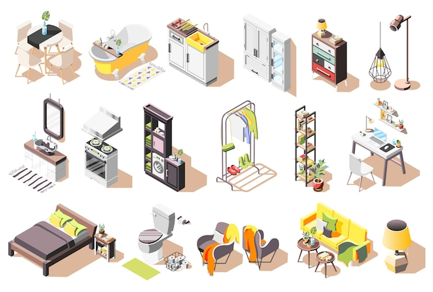 Kolekcja Wewnętrznych Ikon Loft Izolowanych Obrazów Z Nowoczesnymi Meblami Do Salonu I łazienki Darmowych Wektorów