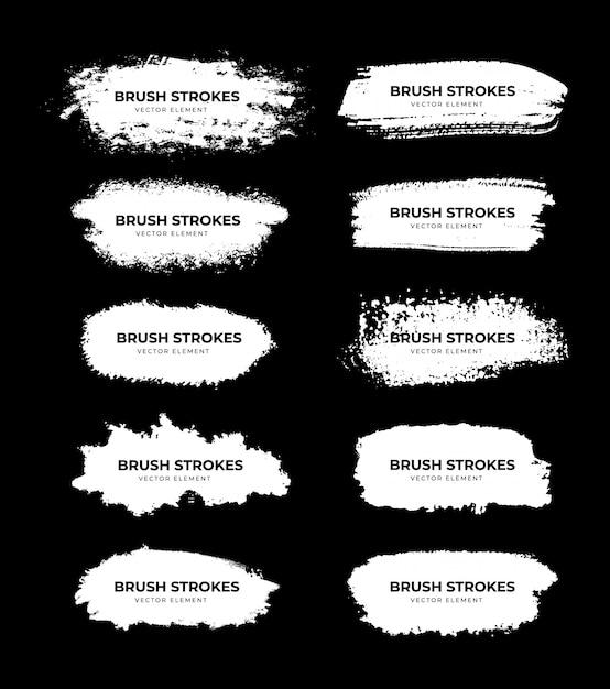 Kolekcja White Brush Stroke Premium Wektorów