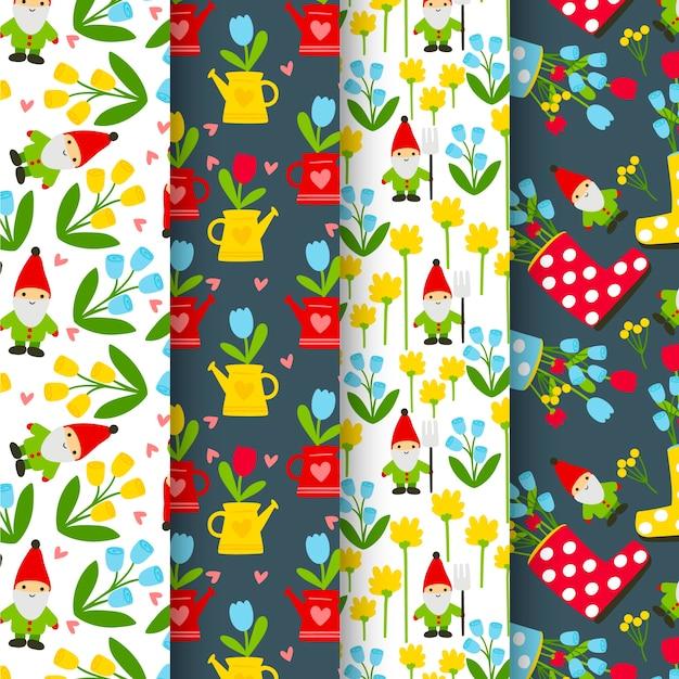 Kolekcja Wiosennych Wzorów Z Kwiatami I Krasnalami Ogrodowymi Darmowych Wektorów