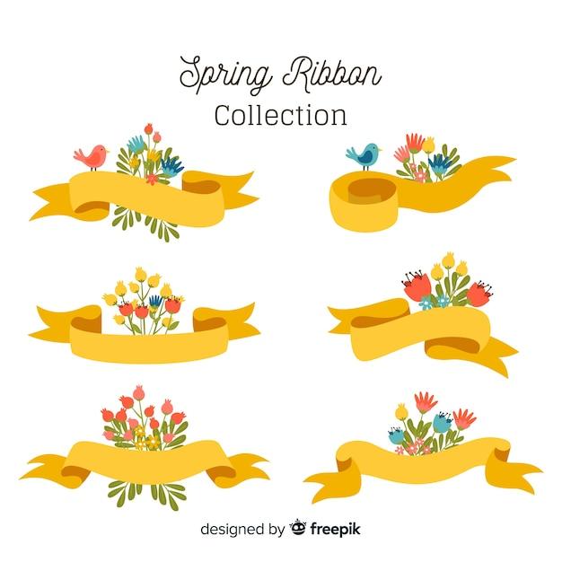 Kolekcja Wiosna Kwiatów Wstążki Darmowych Wektorów