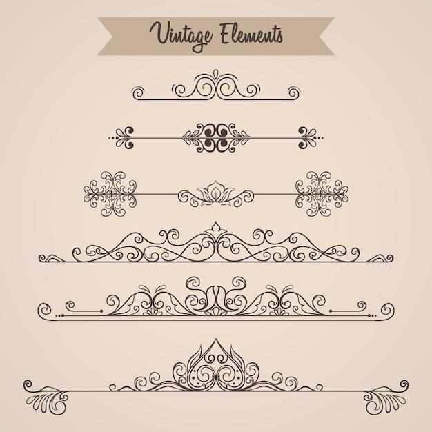 Kolekcja wiruje ozdoby elementów dekoracyjnych na zaproszenie Premium Wektorów