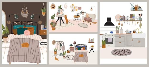 Kolekcja Wnętrz Ze Stylowymi Wygodnymi Meblami I Dekoracjami Do Domu. Pakiet Przytulnych Salonów Premium Wektorów